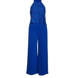 LULUS Blue Lace Popover Wide Leg Jumpsuit